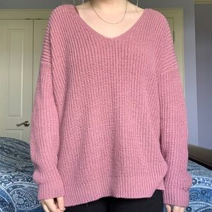 GUC Forever21 pink knit oversized v neck sweater